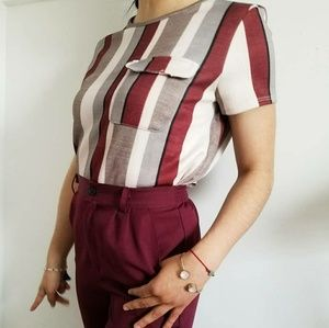 Cute maroon striped short sleeved top